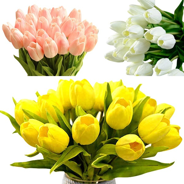 Picture of 10pcs Artifical Real Touch Pu White Yellow Tulips Flower Home Centerpiece Decor