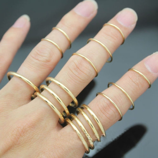Picture of 16pcs/set New Stylish Punk Stackable Plain Band Above Knuckle Midi Finger Ring Fashion Jewely