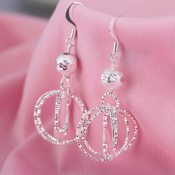 Picture of 1 Pair 925 Silver Lucky Bead Five Rings Embroidery Ear Stud Earrings Jewelry