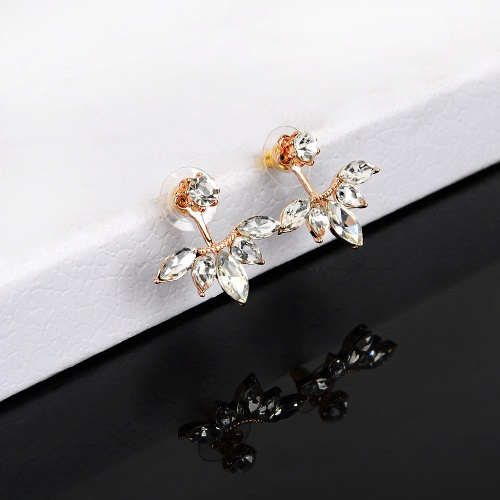 1 Pair Fashion Earing Big Crystal Rose Gold Silver Ear Jackets Jewelry High Quality Leaf Ear Clips Stud Earrings For Women