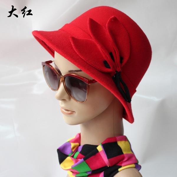 06d28fae1922e Autumn Winter Fedora Hats Women Bowler Hat Flowers Decorated Lady ...