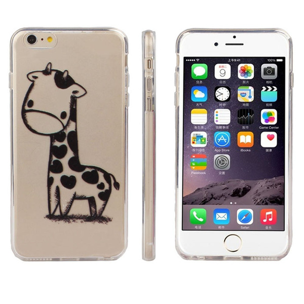 Picture of Giraffe Print Transparent Soft Tpu Cover Soft Case For Iphone 6s Plus 5.5 Or Iphone 6 6s 4.7