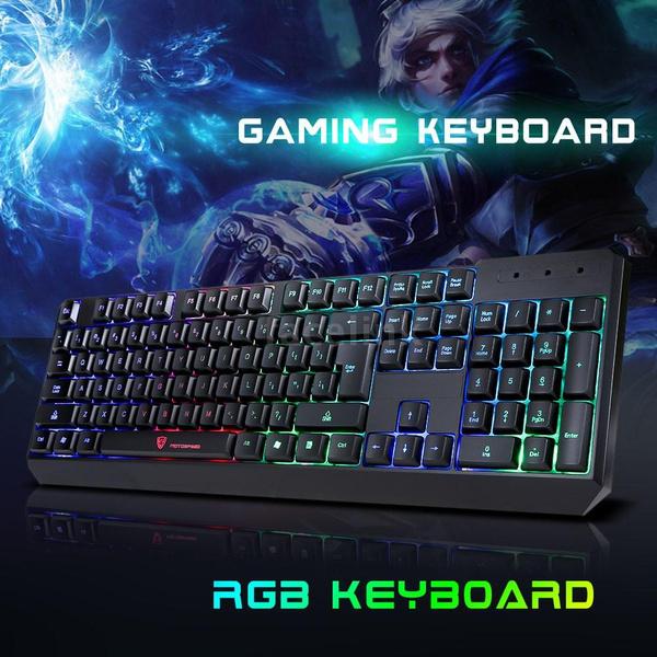 Picture of New Professional 104 Keys Gaming Esport Keyboard Usb Wired Led Colorful Backlit Backlight Illuminated Pc Laptop Notebook Desktop Size 104 Keys Gaming Keyboard Color Black