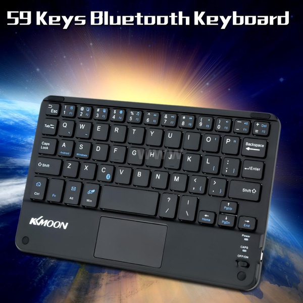Picture of Super Lightweight 59 Keys Mini Bluetooth Keyboard With Touch Pad Panel For Android Windows Pc Tablet Smartphone Color Black