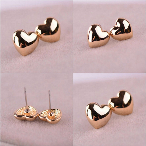 Picture of Women Jewelry Vintage Simple Rose Gold Heart Ear Stud Earrings 1 Pair