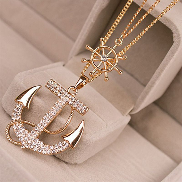 Picture of 2pcs/lot Crystal Anchor Pendant Necklace Color White Navy Style Anchor Rudder Personality Long Necklace