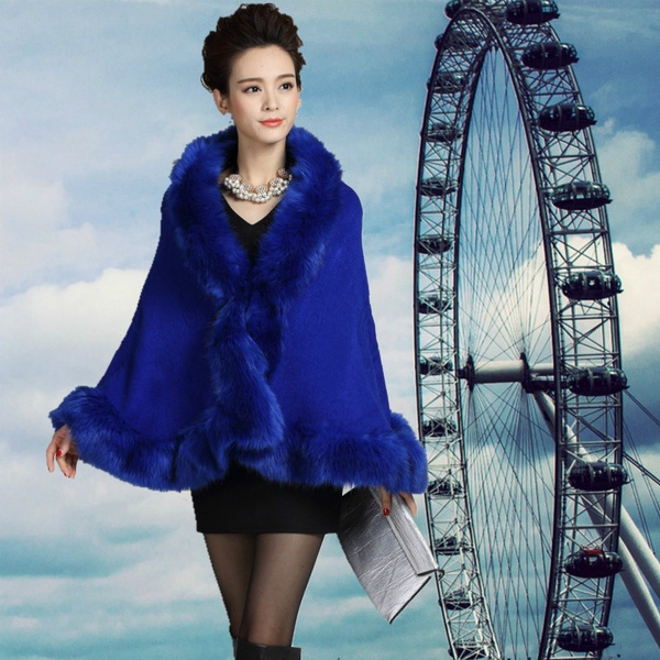 womensponcho, shawlcloak, fur, Fashion