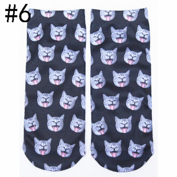Men Women 3D Printed Animal Patterns Cute Cats Unisex Soft Cotton Socks Christmas Stockings