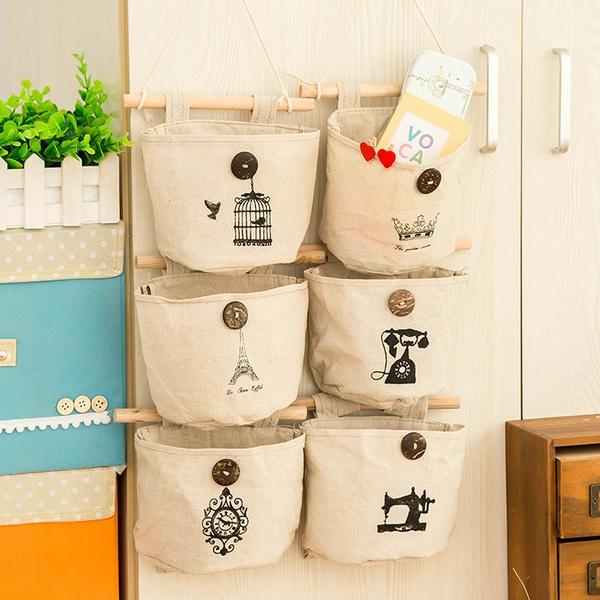 Picture of 1 Piece Fashion Home Supplies Hanging Receive Bag Creative Vintage Clock Crown Pattern Wardrobe Wall Hanging Cotton Storage Bag