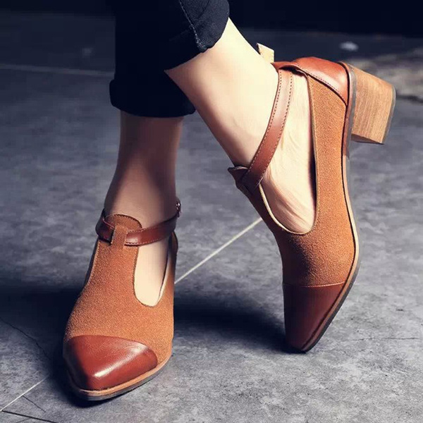 Picture of Women Pointed Toe Oxfords British Style Low Heels Patchwork Buckle Oxford Shoes Casual Vintage Shoes