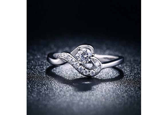 Fashion Jewelry white sapphire 925 Sterling Silver Engagement&Wedding Band Ring Sz6-Sz9