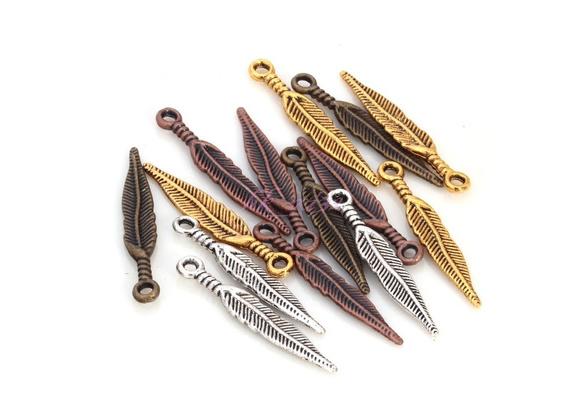 20pcs Antique Silver/Gold/Bronze/Copper Feather/Leaf Shape Charms Pendants29x5mm