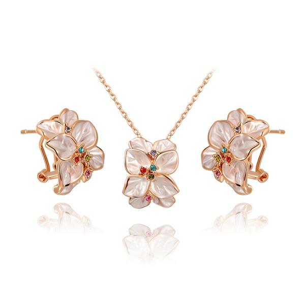 Wish Hayypmommy Set Collier Boucles D Oreilles En Or Rose Fleur