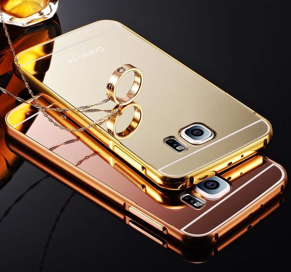 hot sale online 46bdc 10f7d Samsung Galaxy S6 / S6 Edge Mirror Case, Ultra Slim Bling Metal Aluminum  Alloy Frame Mirror Acrylic Plastic Back Cover Case for Samsung S6 / S6 Edge  ...