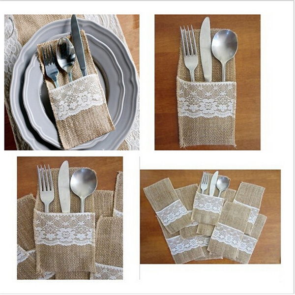 Picture of 5 Pcs Eco-friendly Cutlery Pocket Knife And Fork Burlap Lace Tableware Bag For Wedding Decor Size 21.5cm By 11.5cm