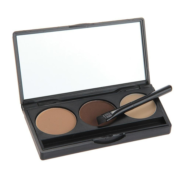 Picture of 3 Colors Eyebrow Powder Eye Brow Palette Makeup Shading Kit With Brush Mirror Eye Shadow