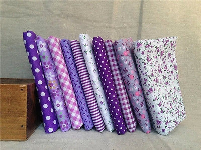 Purple 10 Assorted Pre Cut Charm 10inches Squares Quilt Thin Cotton Fabric