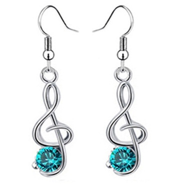 Picture of Fashion Sterling Music Long Crystal Earrings For Lady Jewelry
