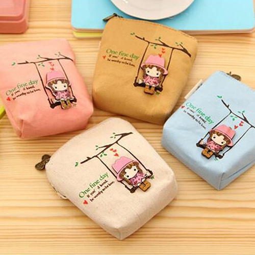 Picture of Women Canvas Wallet Small Clutch Zip Card Coin Holder Purse Handbag