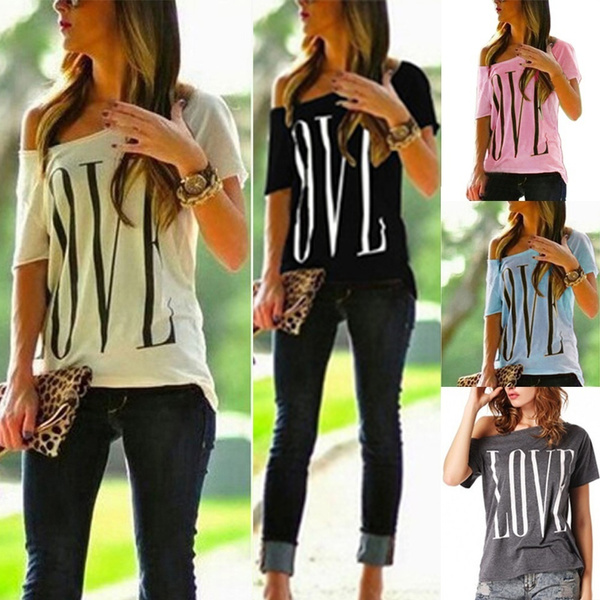 Picture of Retro Fashion Women Sexy Off Shoulder Short Sleeve Casual Top T-shirt Blouse