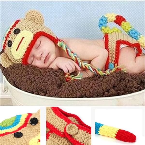 a38dde3baa5 Monkey Hook Woollen Hats Handmade Outfits Newborn Infant Baby Boys ...