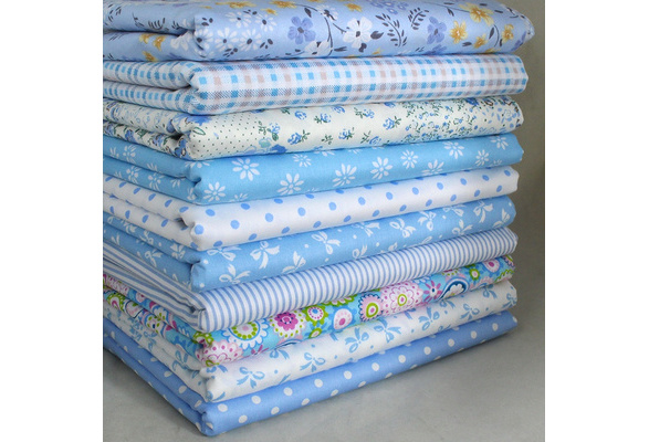 Handcraft Blue 10 Assorted Pre Cut Charm 10' Squares Quilt Cotton Fabric