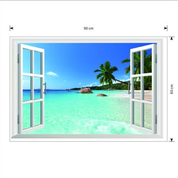 Beach Window Wall Sticker 3D Art Wall Vinyl Sticker Decal Decor Mural Home Decor