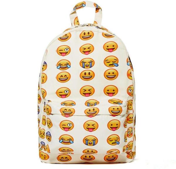 Emoji Backpack New 2015 Women/Men's Travel emoji Bags Smiley School  Backpacks Bookbag Yellow