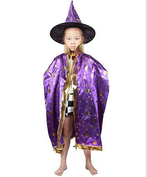 wish boy girl kids children halloween costumes witch wizard cloak gown robe and hat cap stars fancy 5 color for children boys girls