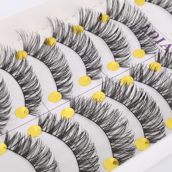 Picture of Long Thick Cross False Eyelashes Natural Makeup Fake Black Eye Lashes 10pairs Color Black