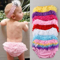 Baby Girl Comfort Pettiskirt Ruffle Panties Bloomer Diaper Cover Sz-S 6-24M