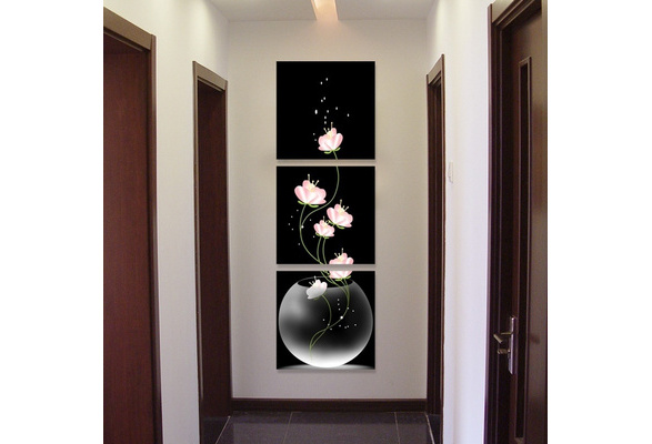 3 pieces Modular wall painting Vase with Flowers Canvas Material Porch Corridor Vertical Version Home Decoration Wall Painting decoration (no frame)
