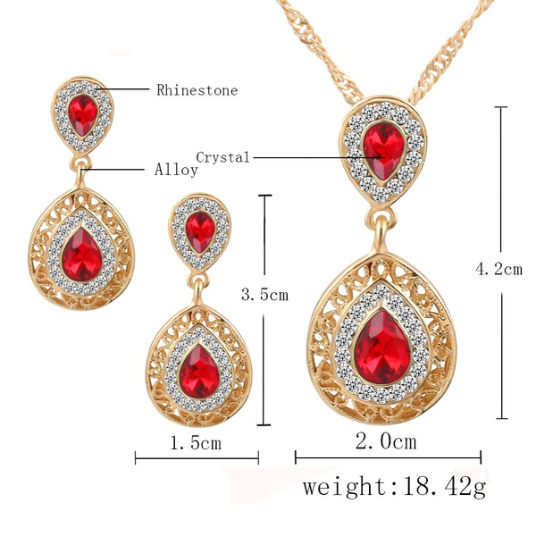Gold Plated Red Blue Green Crystal Necklace Earrings Wedding sets For Women's Bohemian Jewelry set