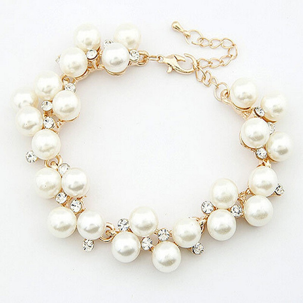 Picture of Fashion Charm Crystal Rhinestone Pearl Beads Bracelet Cuff Chain Women Jewelry Color Gold