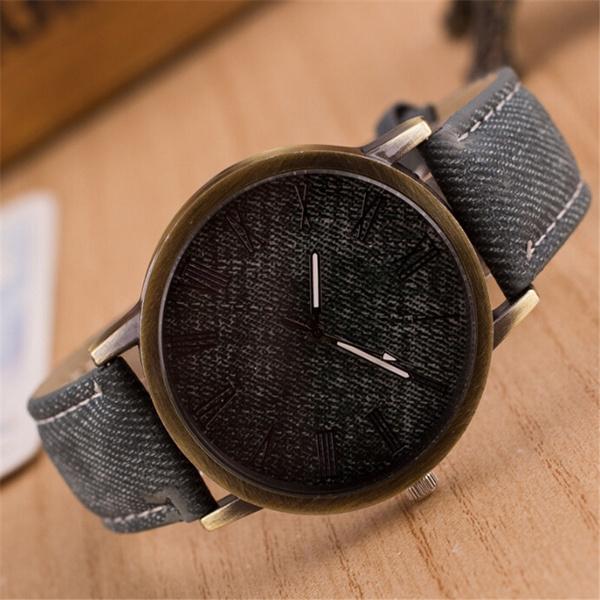 Fashion Multicolor Rome Number Clock Dial Student Leisure Denim Strap Quartz Watch