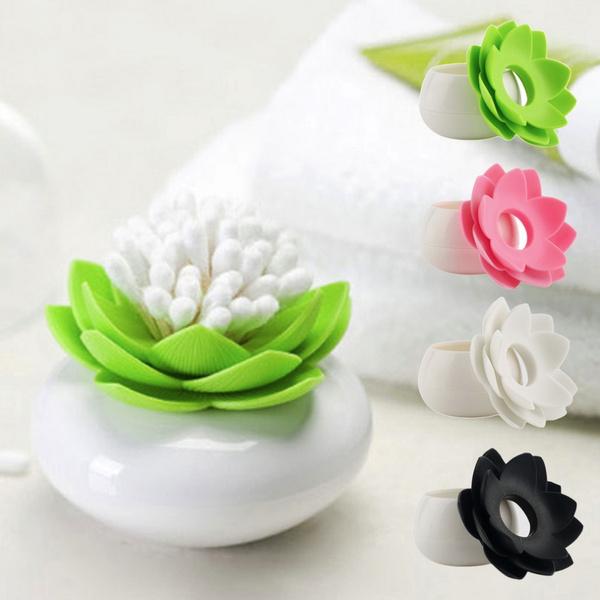 Picture of Lotus Flower Cotton Swab Box Vase Decor Lotus Cotton Bud Holder Base Room Decorate / Lotus Toothpicks Holder Plastic Box
