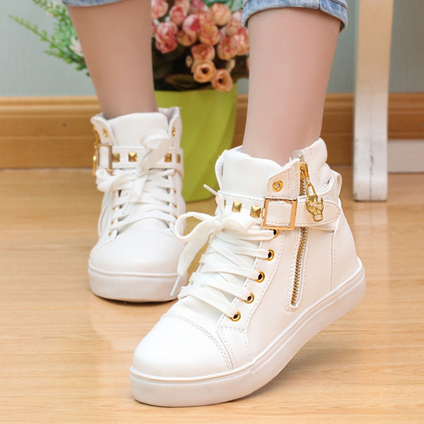 Picture of High Top Sneakers Fashion Casual Shoes Women Shoes Wedge Sneakers White Black Casual Shoes