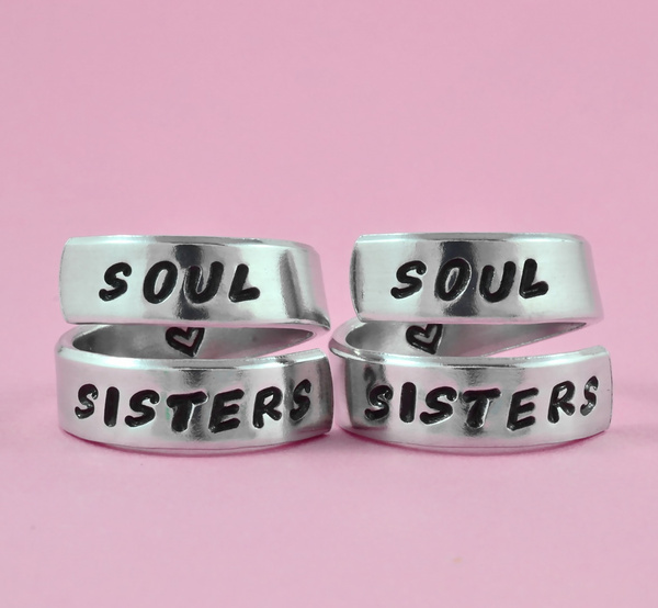 a913f989ddf12 SOUL SISTERS - Handstamped Spiral Ring Set, Sister Match Rings, Best  Friends BFF Rings, Love And Friendship Jewelry