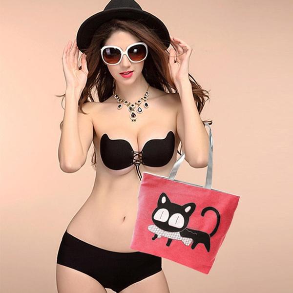 Picture of Trend Women Cute Cat Canvas Shoulder Bag Messenger Shopping Bag Handbag