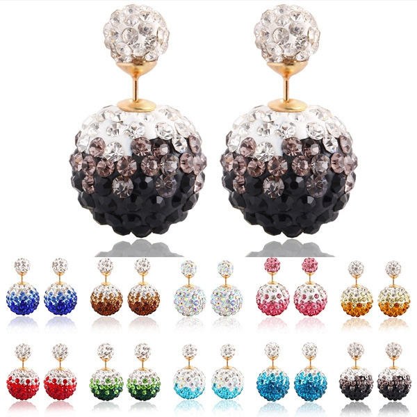 Picture of Alloy Gold Plated Shiny Crystal Colorful Ball Double Beads Stud Earring Charm Rhinestone Earrings Jewelry For Women