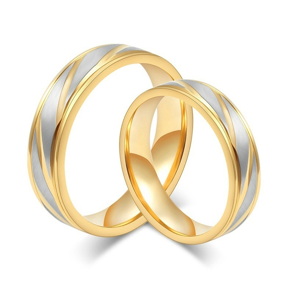 Picture of New Fashion Wedding Bands Women Men Couples Ring Fashion Luxury Gold Plated Rings Stainless Steel Jewelry