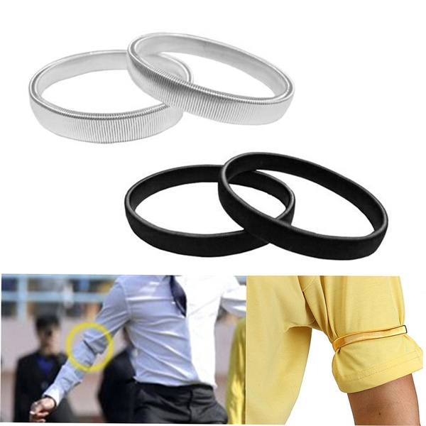 01f9b2562ace Shirt Sleeve Holders Arm Bands Elasticated Metal Armband For Men ...
