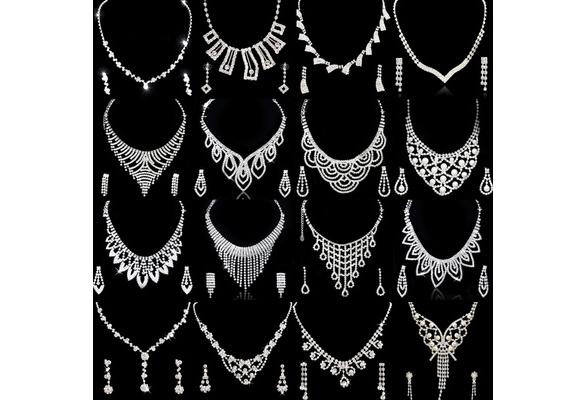 Women Jewelry Set Crystal Rhinestone Diamante Necklace & Earrings for Bridal Wedding Parties