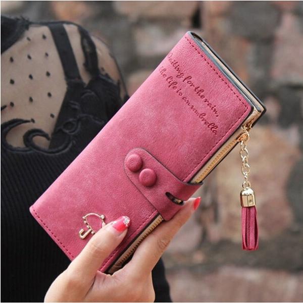 Picture of Women Matte Leather Long Wallet Clutch Tassel Zipper Button Purse Card Holder Handbag