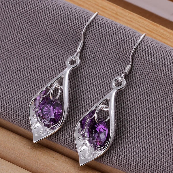 Picture of New Supplies 925 Sterling Silver Hook Dangle Purple Earrings Fashion Jewelry