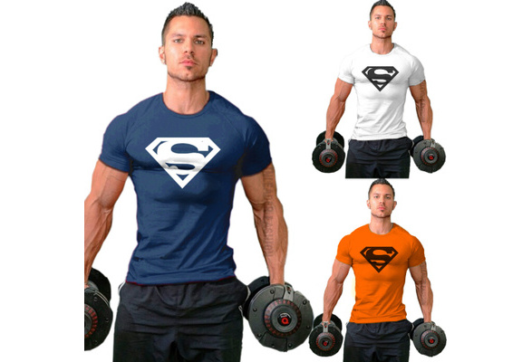 New Arrival Men Workout Gym Silm T-Shirt Bodybuilding Fittness Cotton Shirt