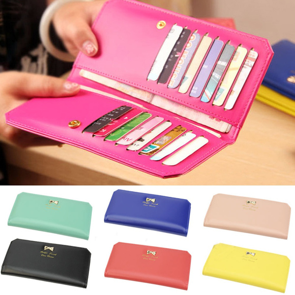 Picture of Women's Pu Leather Bowknot Clutch Wallet Long Card Holder Purse Handbag