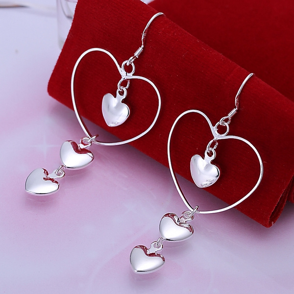 Picture of Nice Fashion Ladies Jewelry 925 Sterling Silver Dangle Earrings Color Silver