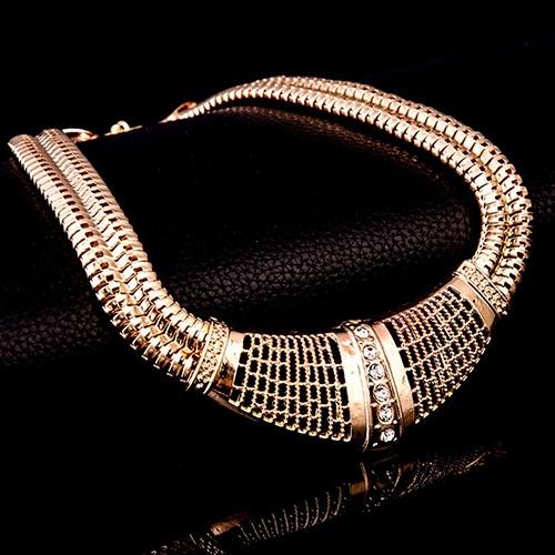 b6e33d4b86846 Lady's Stylish Tribal Net Thick Gold Choker Necklace Chain Bracelet Ring  Stud Earrings Party Dress Jewelry