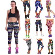Women Carpri Leggings High Waist Printing Yoga Gym Finess Workout Casual Pants Three-quarter Trousers